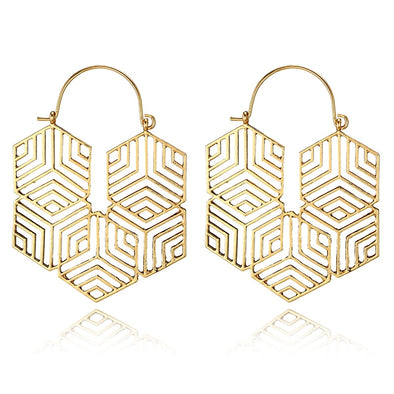 Hexagonal Drop Dangle Earring