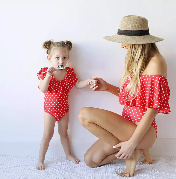 Mommy and Me - Red & White Polka Dot One Piece