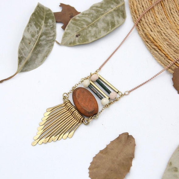 Boho Copper Tassel Necklace