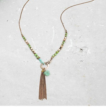 Burning Gold Tassel Necklace