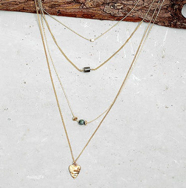 4 Layer Heart Pendant Necklace