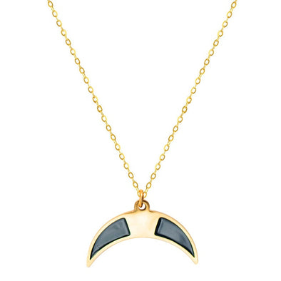 Black Crescent Moon Pendant Necklace