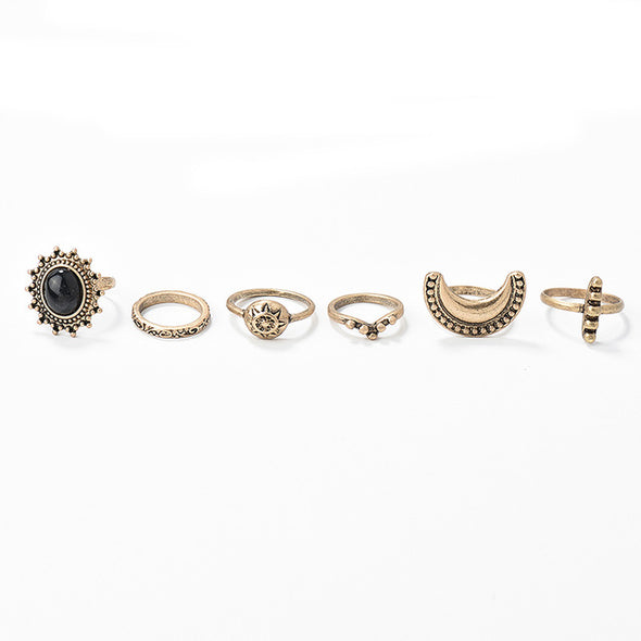 6 Piece Turkish Moon Ring Set