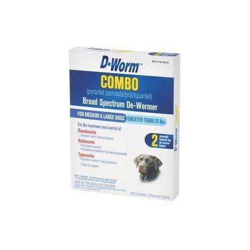 Farnam/Adams D-Worm Combo Broad Spectrum De-Wormer for Medium and Large Dogs 2 Tabs