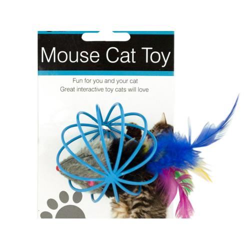Feathered Mouse in Ball Cage Cat Toy ( Case of 36 )