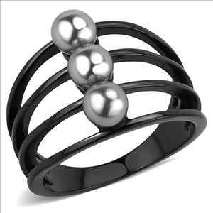 Boho Black Oyster Ring - women's gothic oyster pearl trio, IP black plated, synthetic gray pearl detailed stainless steel ring