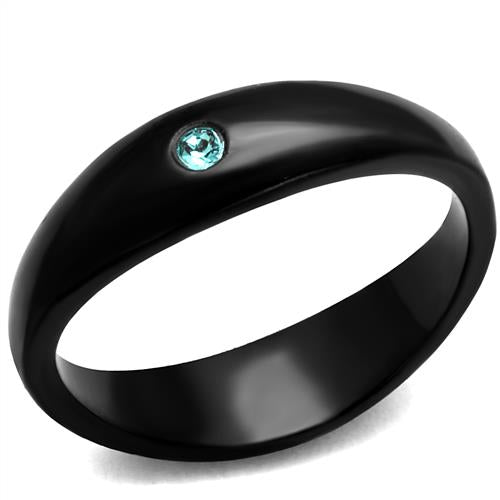 Boho Dark Moon Ring - women's simple dark and tiny sparkle IP black plated stainless steel ring