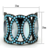 Boho Moonglow Ring - women's Southwest moonphase cycles in IP black plated stainless steel chunky ring