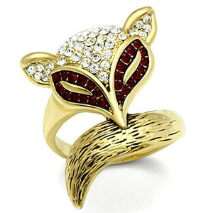 Boho Red Panda Ring - women's red panda IP gold plated, crystal detailed brass creature ring