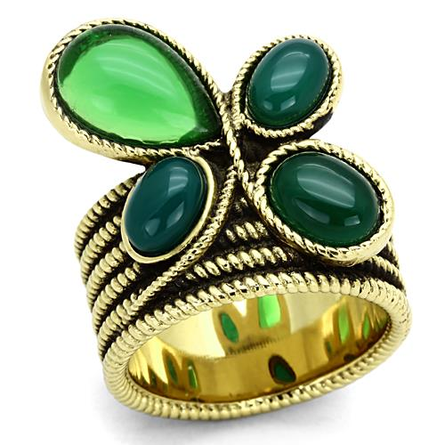 Boho Luck Clover Ring - women's boho celtic charm IP gold plated stainless steel chunky ring
