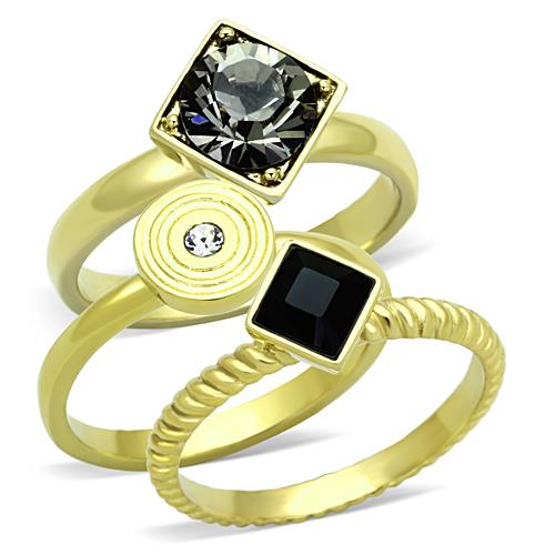 Boho Opposites Attract Ring - women's geometric rounds and edges, black and clear crystal IP gold plated stainless steel stacking rings