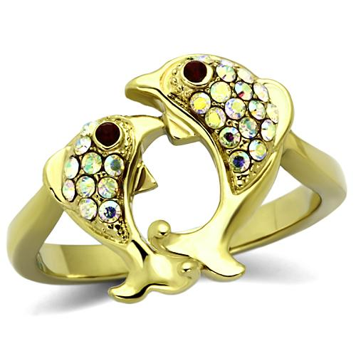 Boho Pisces Ring - women's two fish pisces IP gold plated, crystal scales stainless steel ring