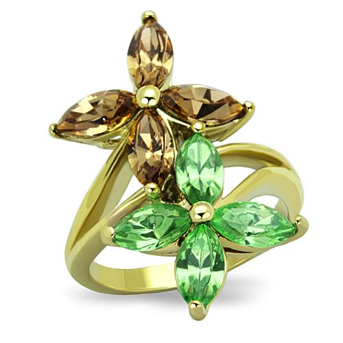 Boho Rain Forest Flowers Ring - women's natural crystal lillies green and brown crystal IP gold plated stainless steel ring