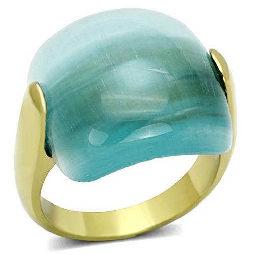 Boho Smooth Southwest Ring - women's aquamarine looking glass synthetic cateye hovers on IP gold plated stainless steel chunky ring