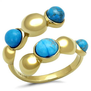Boho Southwest Bead Ring - women's alternating sea blue spheres IP gold plated stainless steel ring