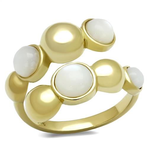 Boho Yogi Bead Ring - women's alternating open-closed spheres IP gold plated stainless steel ring
