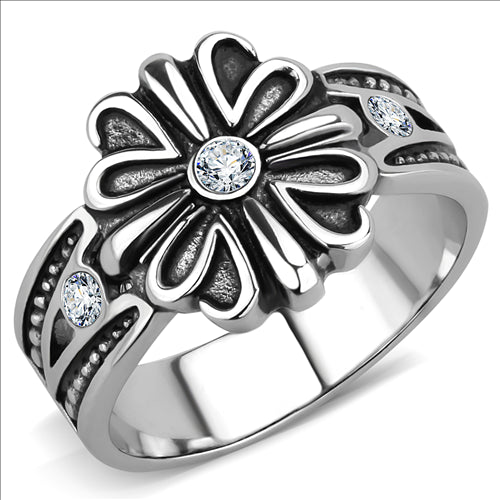 Boho Celtic Crossed Flower Ring - women's patterned celtic pansy, crystal detailed stainless steel ring