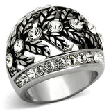 Boho Celtic Floral Ring - women's flowering vines, crystal detailed stainless steel chunky ring