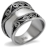 Boho Curlicues Ring - women's boho celtic goddess stainless steel chunky ring