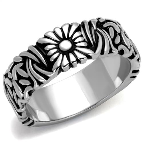 Boho Daisy Fields Ring - women's daisy and grasses patterns stainless steel ring