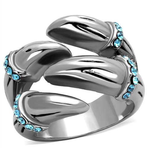 Boho Dragon Talon Ring - women's aquamarine wrapping talons stainless steel creature ring