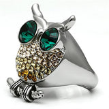 Boho Mystic Owl Ring - women's sparkling wise owl, cystal detailed stainless steel chunky creature ring