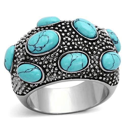 Boho Turquoise River Ring - women's turquoise boulders float in river currents stainless steel chunky ring