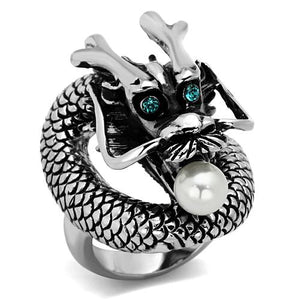 Boho Wise Dragon Ring - women's pearled dragon with bright eyes stainless steel ring
