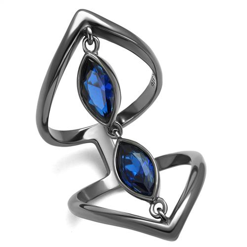 Boho Blue Bridge Ring - women's chained blue charmed bridge attach geometric opposite points IP light black plated stainless steel ring