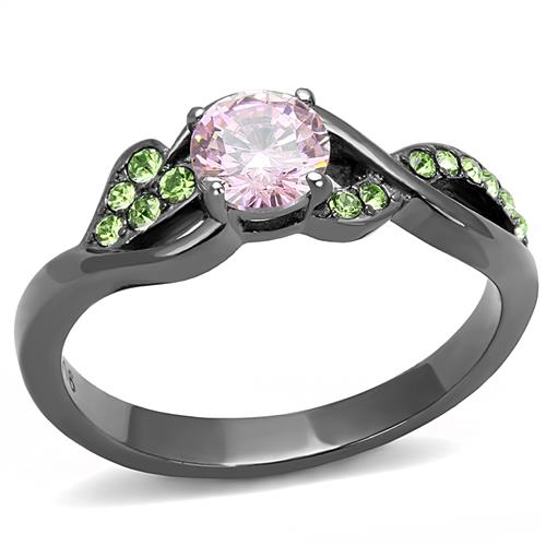 Boho Elegant Pink Rose Ring - women's gentle pink rose and vines on IP light black plated, cubic zirconia detailed stainless steel ring