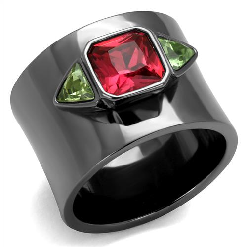 Boho Gothic Rose Ring - women's striking glass rose on IP light black plated stainless steel chunky ring