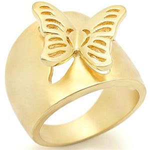 """Boho Minimalist Butterfly Ring - women's cutout raised butterfly mat gold plated brass ring """