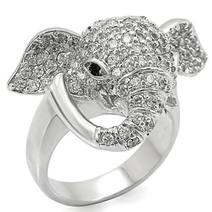 Boho Elephant Head Ring - women's elephant head rhodium plated silver-white, crystal detailed brass chunky creature ring