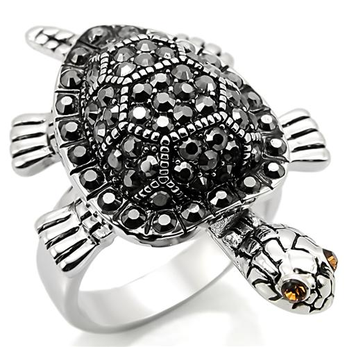 Boho Tortoise Ring - women's tortoise rhodium plated silver-white, crystal detailed brass chunky creature ring