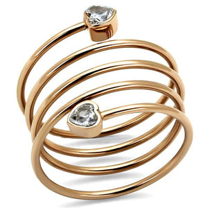 Boho Coiled Minimal Ring - women's simple heart's sprung IP rose gold plated, cubic zirconia detailed stainless steel ring