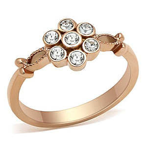 Boho Delicate Daisy Ring - women's simple flower IP rose gold plated, crystal detailed stainless steel ring
