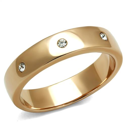 Boho Infinity Simplicity Ring - women's smooth IP rose gold plated, clear cystal evenly spaced stainless steel ring