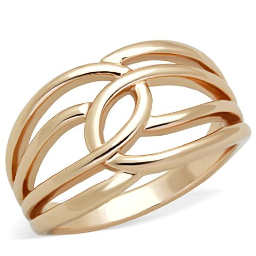 Boho Intertwining Loops Ring - women's IP rose gold plated minimalist loops stainless steel ring