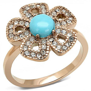 Boho Turquoise Daisy Ring - women's southwest styled flower IP rose gold plated, crystal detailed stainless steel ring