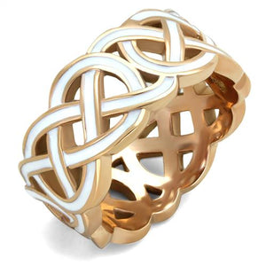 Boho White Knots Ring - women's celtic knots IP rose gold with white inlay stainless steel ring