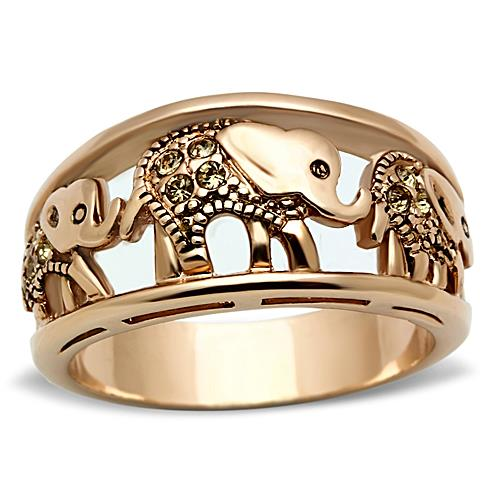 Boho Elephant's Marching Ring - women's elephant family migration IP gold plated, crystal detailed stainless steel creature ring - top view