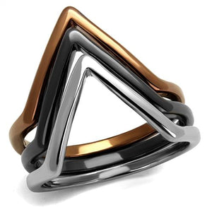 Boho Triangle Trio Ring - women's tri tone geometric lihgt brown, black and silver plated triangles stainless steel ring