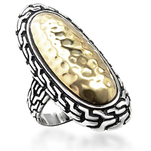 Boho Vintage Athena Ring - women's hammered bezel two tone patterned warrioress brass chunky ring