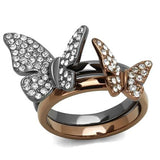 Boho Butterfly Duo Ring - women's two tone butterflies flying light black and brown IP plated, crystal detailed stainless steel stacking rings