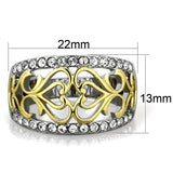 Boho Growing Hearts Ring - women's celtic flowering hearts two tone IP gold and silver plated stainless steel ring