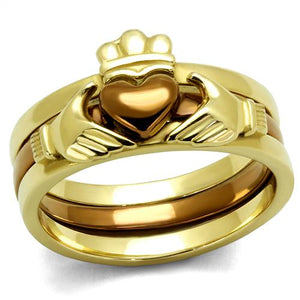 Boho Stacked Claddagh Ring - women's two-tone hugged claddagh gold & light brown stainless steel stacking rings