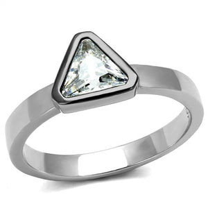 Boho Superman Ring - women's triangle two tone black and silver plated, cubic zirconia detailed stainless steel ring