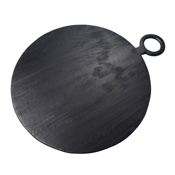 Large Black Round Serving Board