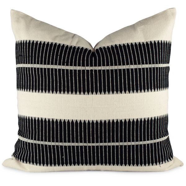 Black woven pillow front view