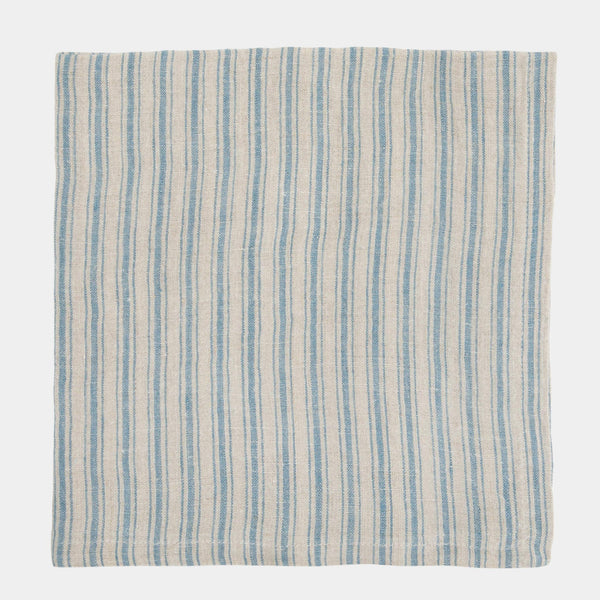 Stonewashed Linen Napkin in Blue Stripe